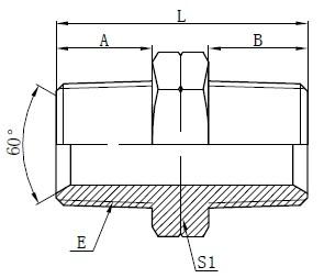 हाइड्रोलिक एनपीटी नर एडाप्टर रेखाचित्र